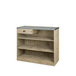 Wooden shop counter with drawer, zinc top, Solid Wood