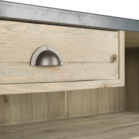 Comptoir d'accueil avec plateau zinc, bois massif