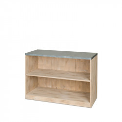Low counter, 2 shelf, zinc top, Solid Wood