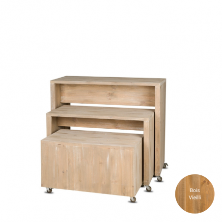 Set of 3 nesting tables with wheels, solid wood