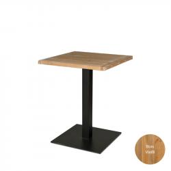Table carrée en bois massif de largeur 70 cm pour restaurants et cafés