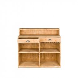 Bar à vin TRADIS en bois massif 2 tiroirs et casiers