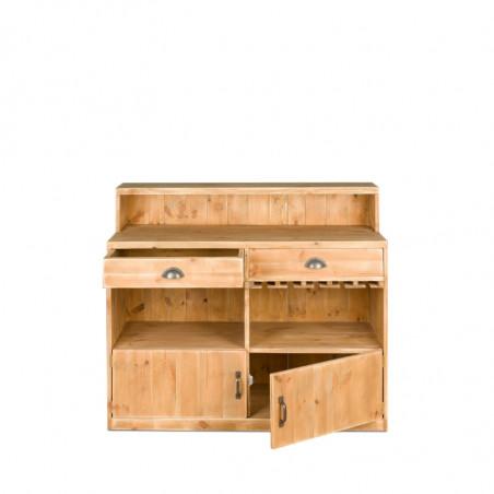 Bar à vin TRADIS en bois massif 2 portes 2 tiroirs L 119 cm