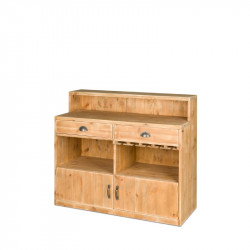 Wooden wine bar, 2 doors 2 drawers L 119 cm, Solid Wood