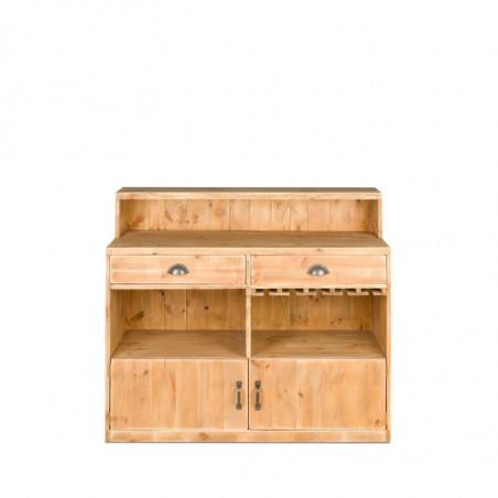 Wooden wine bar, 2 doors 2 drawers L 119 cm, Solid Wood