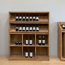 Étagère à vin basse TRADIS capacité 140 bouteilles en bois massif pour caviste
