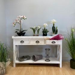 Table console fleuriste avec plateau zinc, bois massif