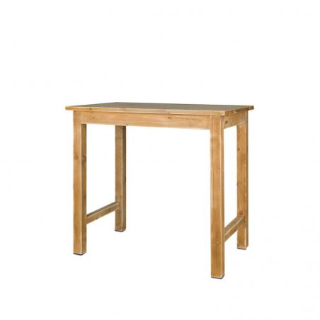 Table mange-debout rectangulaire, repose-pieds, bois massif