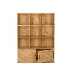 Étagère 9 casiers, 2 portes, bois massif