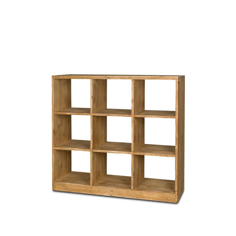 Étagère 9 casiers sans fond H110 cm, bois massif