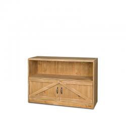 Étagère basse H119 cm, 2 portes, bois massif