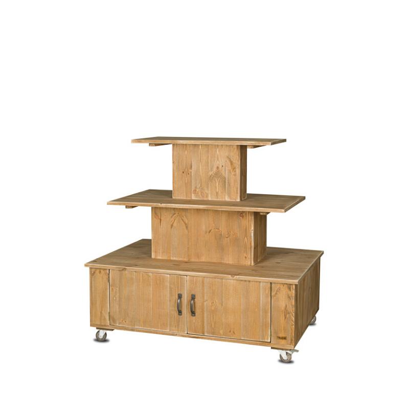 Présentoir central à roulettes, 3 niveaux, bois massif