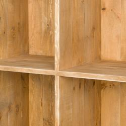 Comptoir épicerie double face à roulettes, 12 casiers, bois massif