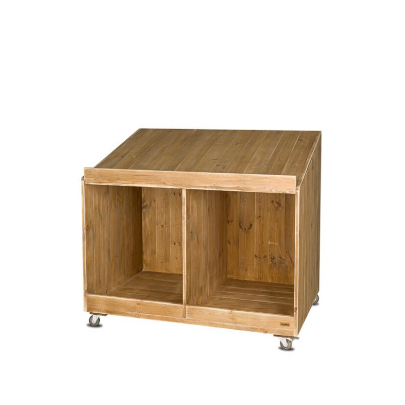 Présentoir primeur à roulettes, 2 cases, bois massif