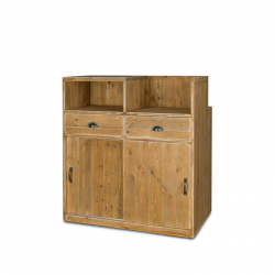 Comptoir de caisse, 2 portes, 2 tiroirs, bois massif