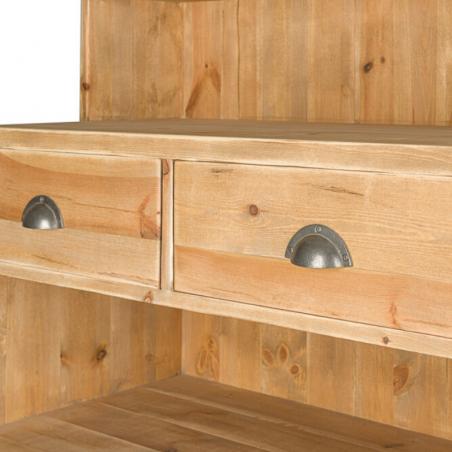 Buffet de service H160 cm, 2 tiroirs, 2 portes, bois massif