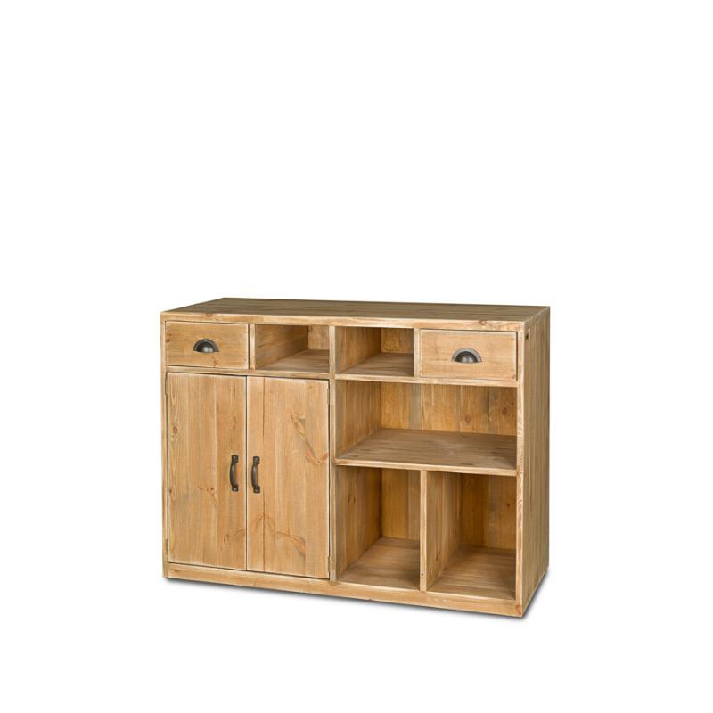 Comptoir de magasin, 2 portes, 2 tiroirs, bois massif