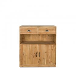 Buffet bas de service H100 cm, 2 tiroirs, 2 portes, bois massif