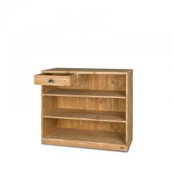 Comptoir d'accueil avec tiroir, bois massif