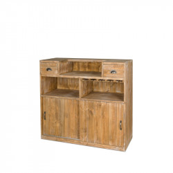 Wine bar, 2 drawers, sliding doors, Solid wood