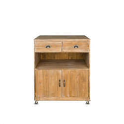 Wooden service trolley, 2 drawers 2 doors on wheels, Solid wood