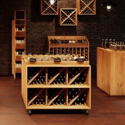 Présentoir à vin sur roulettes, 6 casiers, Bois Massif