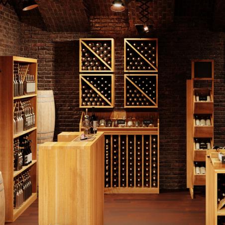 Présentoir à vin, Capacité 120 bouteilles, bois massif