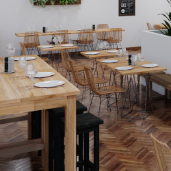 Table carrée mange-debout, repose-pieds, bois massif