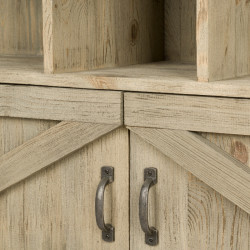 Étagère TRADIS en bois massif 3 colonnes 2 portes