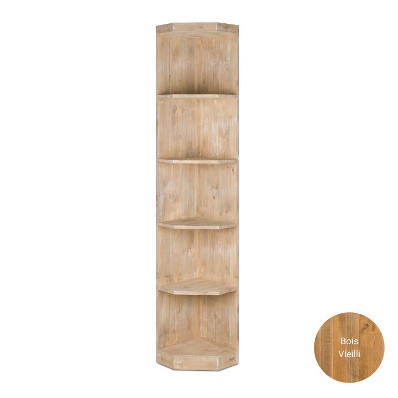 Étagère d'angle 5 niveaux, bois massif