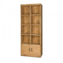 Étagère 8 casiers, 2 portes, bois massif