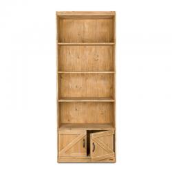 Étagère 4 niveaux, 2 portes, bois massif
