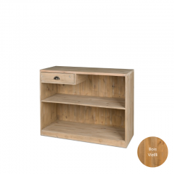 Comptoir de magasin, tiroir avec serrure, bois massif