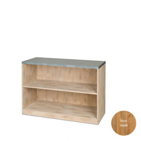 Comptoir bas H80 cm avec plateau zinc, bois massif