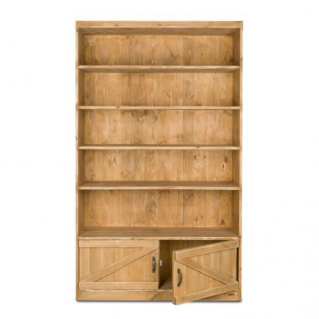 Étagère 5 niveaux, 2 portes, bois massif