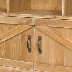 Étagère 12 casiers, 2 portes, bois massif