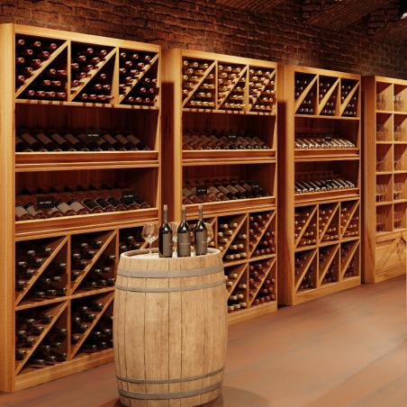 Étagère à vin H200 cm, capacité 200 bouteilles, bois massif