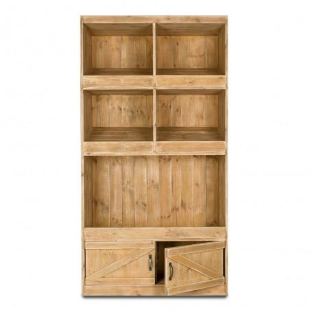 Etagère boulangerie 3 niveaux, 2 portes en bois massif
