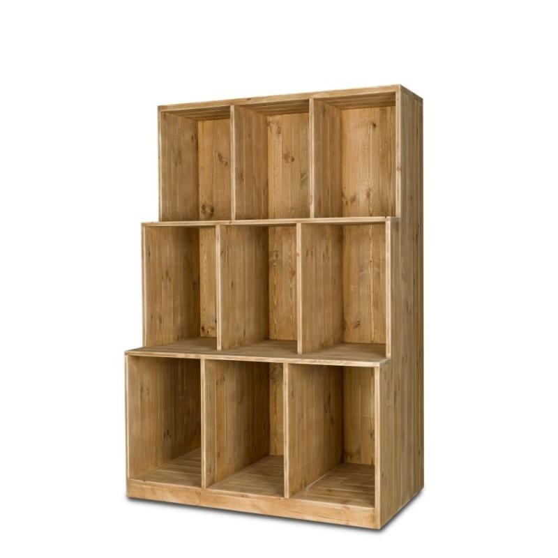 Etagère 3 niveaux, 9 casiers en bois massif