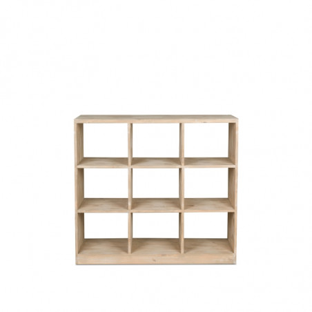 Double sided 9-cube shelf unit, solid woo