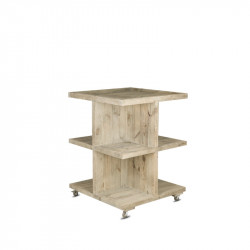 Island display unit on wheels, Solid wood