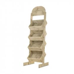 Présentoir 4 casiers + fronton d'affichage TRADIS en bois massif