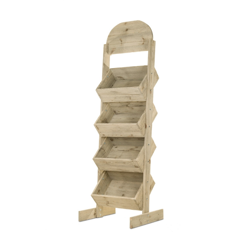 4-tier wooden display stand with display fixtures, Solid wood