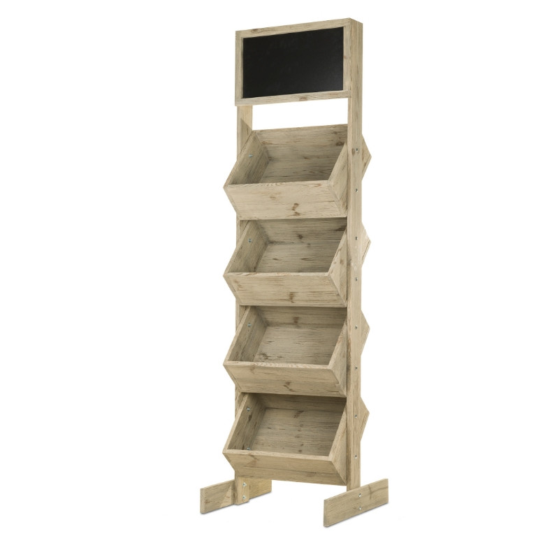 4-tier wooden display stand with chalkboard top, Solid wood