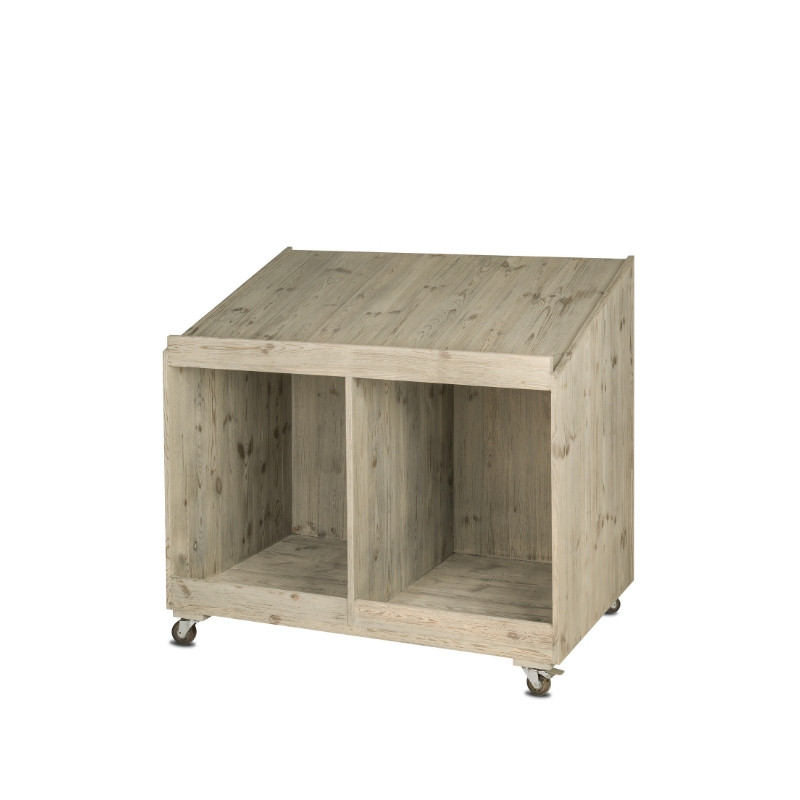 Vegetable display unit on wheels, Solid wood