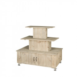 Présentoir central 3 niveaux TRADIS en bois massif avec roulettes