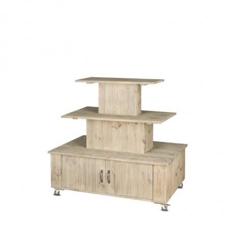 3-tier island display unit on wheels, Solid wood