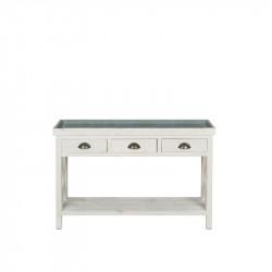 Table console fleuriste TRADIS en bois massif et plateau en zinc