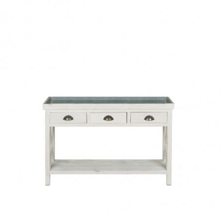 Florist console table, zinc top, Solid wood