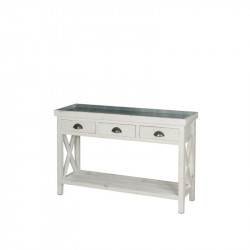 Florist console table, zinc top, Solid wood